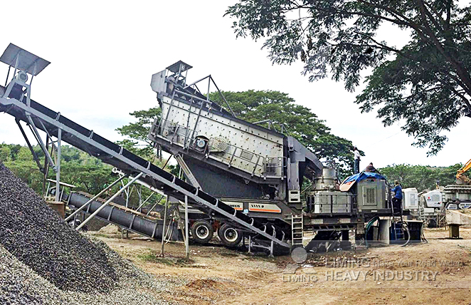 The configuration of 100tph river rock crushing line in Subic, Philippines
