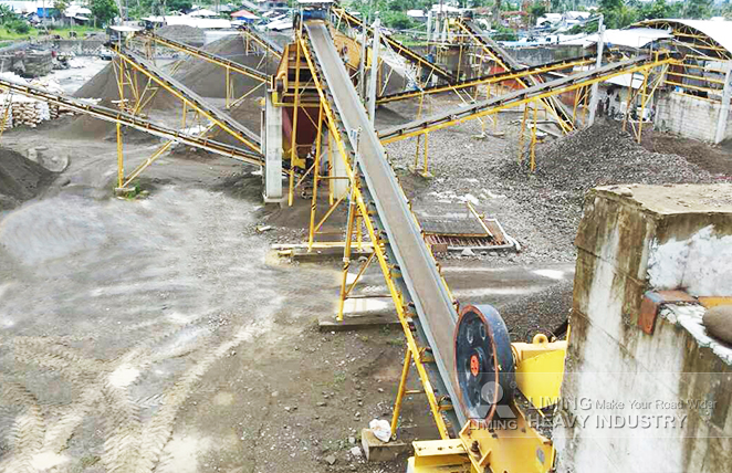 The configuration of 150tph river rock crushing line in Tacloban, Philippines