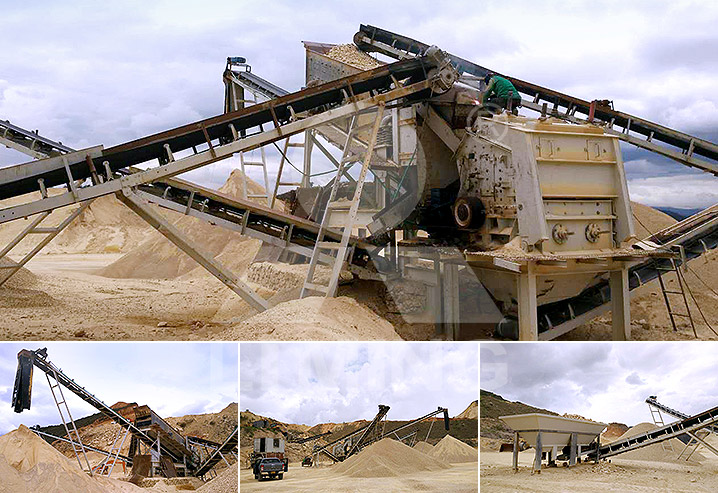The worksite of 80-100TPH hard stone mobile crushing line in Colombia