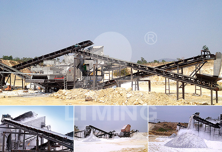 The worksite of 400tph gypsum mobile crushing plant in Thailand