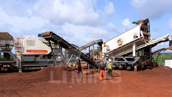 The worksite of 250tph iron ore mobile crushing plant in Zambia